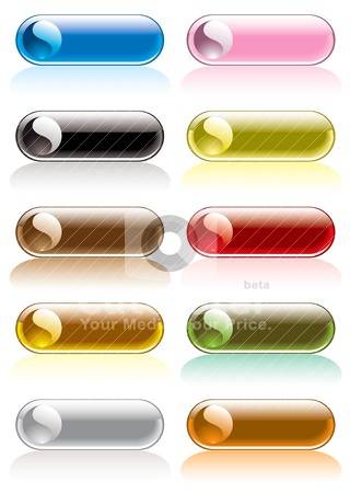 Ying yang lozenge stock vector clipart, Collection of ten gel icons with ying yang round symbol by Michael Travers