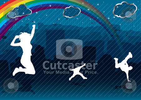 Rainbow cityscape stock vector clipart, Abstract city scene with silhouette building and people dancing with rainbow by Michael Travers