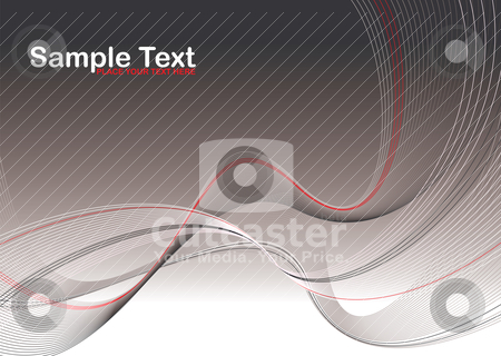 Gray wave stroke stock vector clipart, Abstract gray and red background with flowing lines and copy space by Michael Travers
