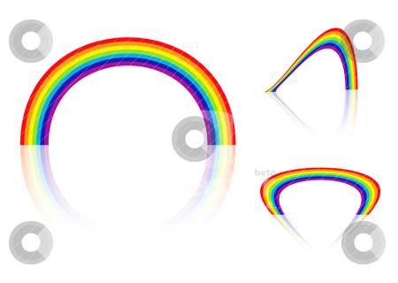 Rainbow angle stock vector clipart, Abstract collection of three bright colourful rainbows with reflection by Michael Travers