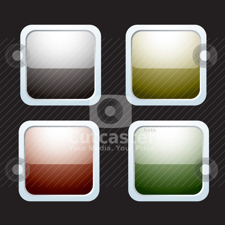Rounded reflective icons stock vector clipart, Four icons with light reflection and silver bevel and black background by Michael Travers
