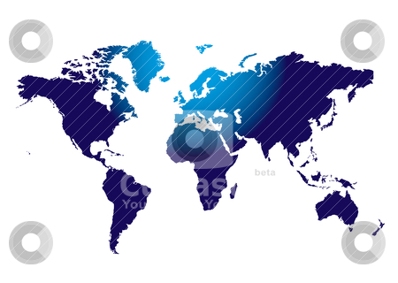 World top glow stock vector clipart, Outline of the world mass in blue with light shining on the top section by Michael Travers