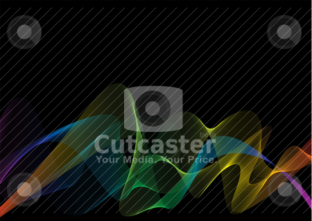 Rainbow weave black stock vector clipart, Abstract black background with rainbow weave effect and copy space by Michael Travers