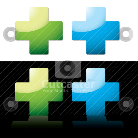 Medical cross stock vector clipart, Two medical icons with reflective backgrounds and drop shadow by Michael Travers