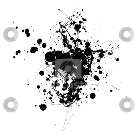 Splat splat stock vector clipart, Inky black splat with abstract shape and room to add text by Michael Travers
