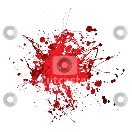 Blood splat splat stock vector clipart, Grunge blood ink splat abstract shape with room for text by Michael Travers