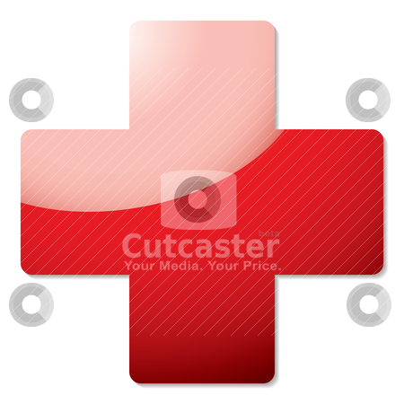Red cross shadow stock vector clipart, Red cross icon with drop shadow and light reflection by Michael Travers