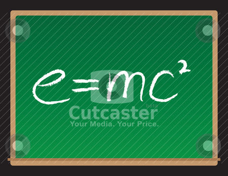 Theory of Relativity Chalkboard stock vector clipart, A vector drawing of a chalkboard with the theory of relativity written on it. by Todd Arena