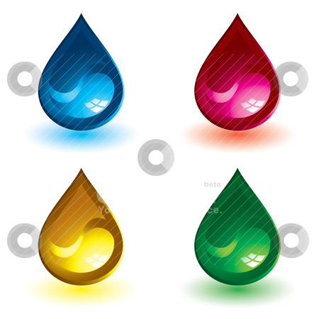 Ying yang fluid stock vector clipart, Four gel filled water droplet icons with drop shadow by Michael Travers