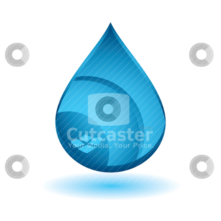 Blue water stock vector clipart, Single blue water droplet icon with drop shadow effect by Michael Travers