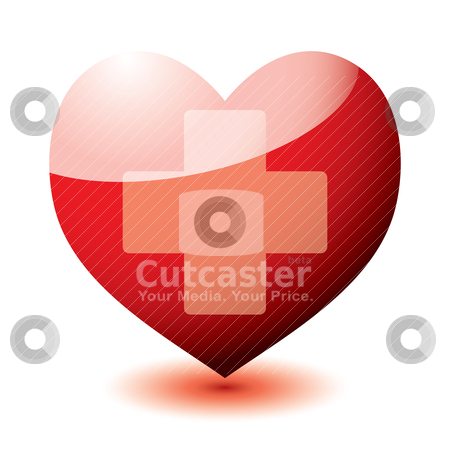 Heart reflect cross stock vector clipart, Bright red love heart with medical cross sign and drop shadow by Michael Travers