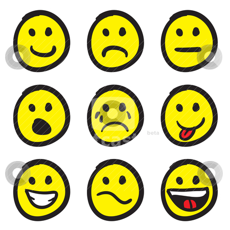 Cartoon Smiley Faces stock vector clipart, An icon set of cartoon smiley faces in a variety of expressions. by Todd Arena