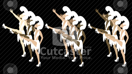 Las Vegas Dancers 4 stock vector clipart, Las Vegas Showgirl Dancers with costumes giving high kicks. by Basheera Hassanali