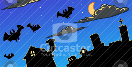 Horror night skies stock vector clipart, Bats flying in a night skies over an old city by Kuswanto Kuswanto