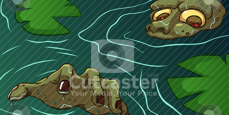 Zombie Swamp stock vector clipart, Zombie surfacing in a swamp by Kuswanto Kuswanto