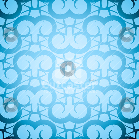 Rams repeat stock vector clipart, Seamless repeating abstract pattern in different shades of blue by Michael Travers