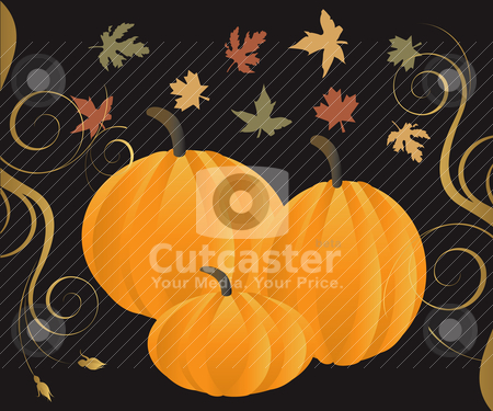 Fall 2 stock vector clipart, Vector Illustration for Fall Autumn Leaves and Pumpkins with decorative scroll. by Basheera Hassanali