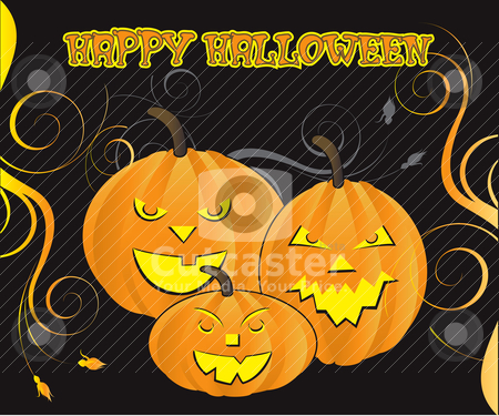 Halloween stock vector clipart, Vector Illustration for Halloween Carved Pumpkins with decorative scroll background. Can be used as a poster or greeting card and for web or print. I used MumbyPegs font. by Basheera Hassanali