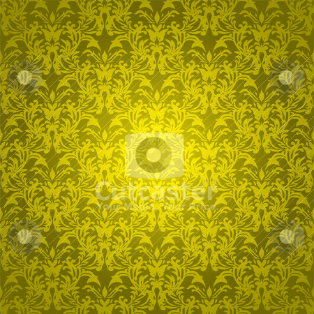 Floral gothic bright gold stock vector clipart, Golden yellow background with wallpaper design that seamlessly repeats by Michael Travers