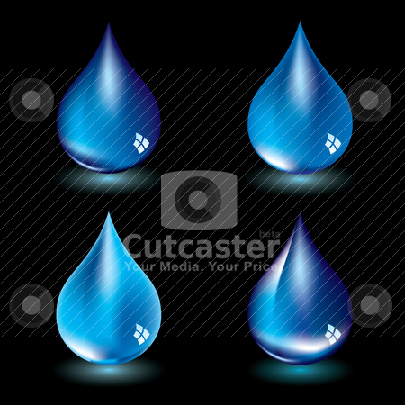 Water droplet blk stock vector clipart, Four water droplets with black background and light reflection by Michael Travers