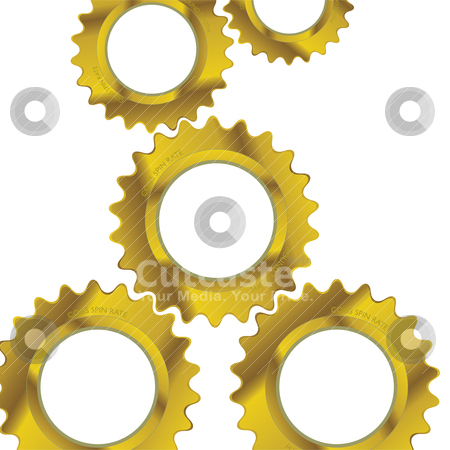 Break free of machine stock vector clipart, Golden machine cogs making up abstract business concept by Michael Travers
