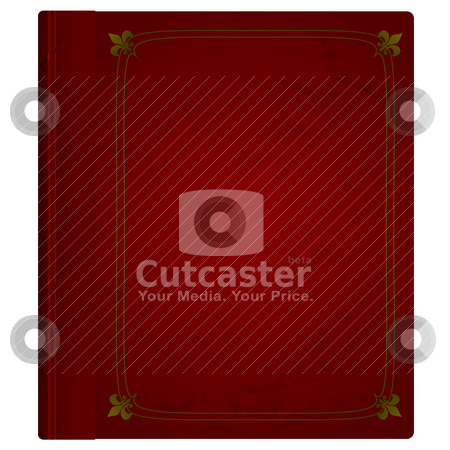 Leather book stock vector clipart, Maroon hardback book with leather cover and gold trim by Michael Travers
