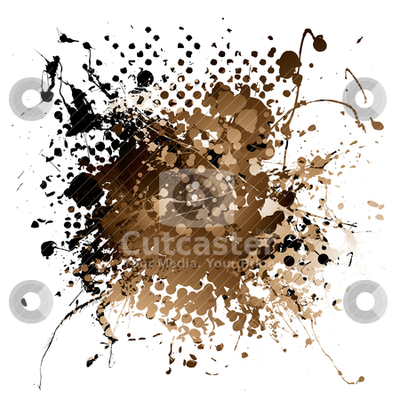 Brown ink splat stock vector clipart, Grunge illustrated brown ink splat design with white background by Michael Travers