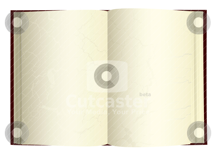 Open book old stock vector clipart, Illustrated open book with blank pages and gothic grunge by Michael Travers