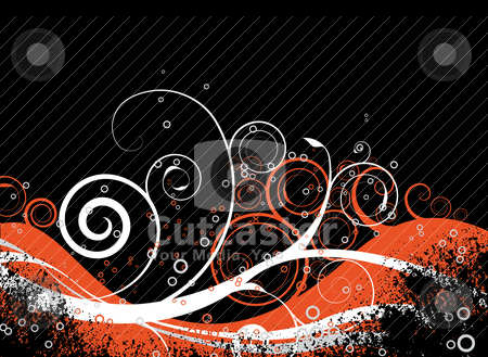 Orange crunch stock vector clipart, Orange and black floral inspired background with space for text by Michael Travers
