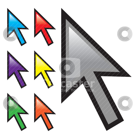 Mouse Arrow Cursors stock vector clipart, A collection of mouse arrow cursors isolated over white with multiple color options. by Todd Arena