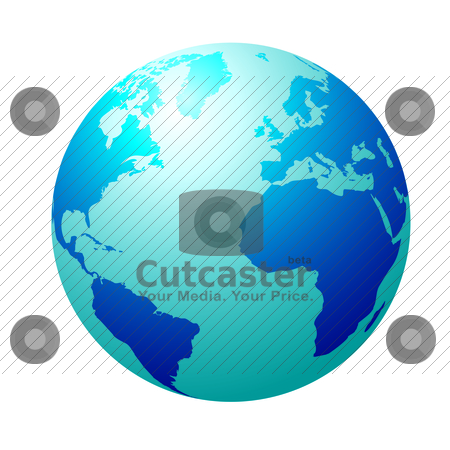 Blue globe stock vector clipart, Blue circular globe showing north america and europe by Michael Travers