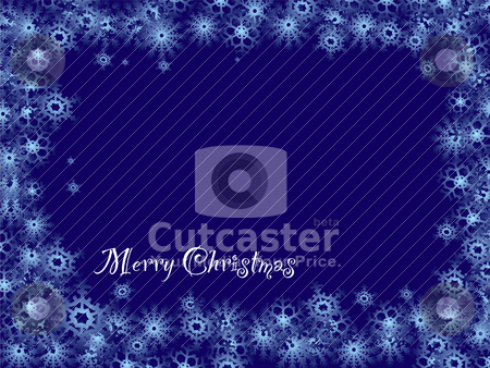 Snowflake christmas stock vector clipart, Royal blue christmas background with snowflake border and copyspace by Michael Travers