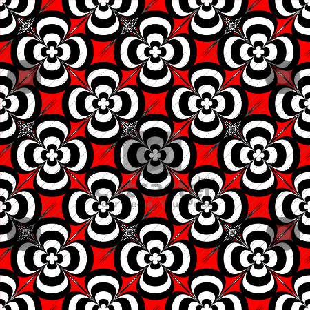 Seventies flower stock vector clipart, Red and black abstract floral seamless repeat background by Michael Travers