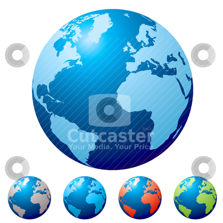 Multi globe stock vector clipart, Collection of five globes with colour variation and light reflection by Michael Travers
