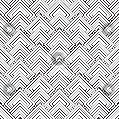 Artex square stock vector clipart, Black and white square seamless repeat design with overlap pattern by Michael Travers