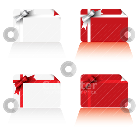 Christmas cards stock vector clipart, Business card with christmas ribbon in red and white variation by Michael Travers