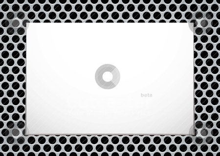 Brushed metal picture stock vector clipart, Brushed metal background with blank white canvas ready for your own image by Michael Travers