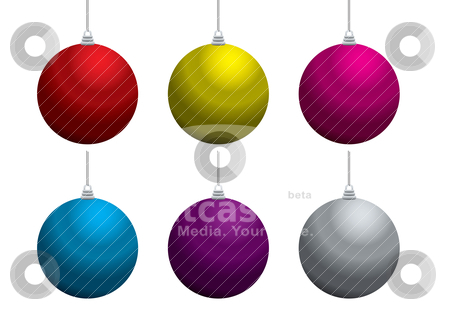 Christmas balls stock vector clipart, Collection of six christmas balls with string and reflection by Michael Travers