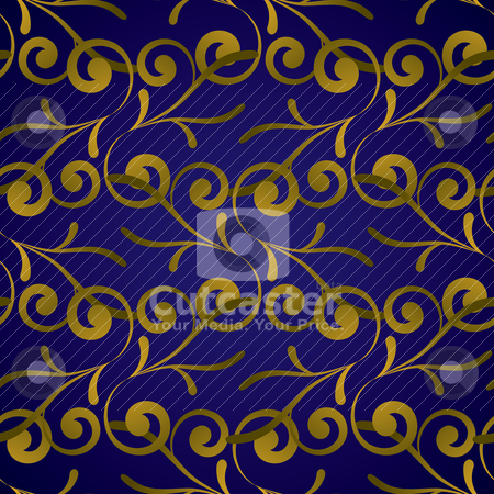 Golden royal leaf stock vector clipart, Royal blue and gold seamless repeat background pattern by Michael Travers