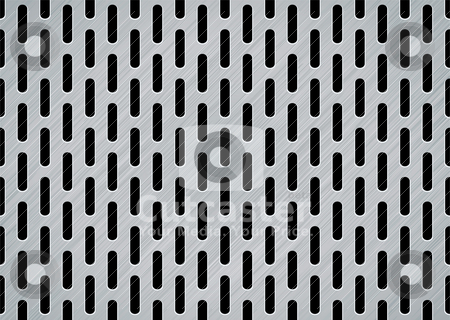 Brushed metal oblong stock vector clipart, Brushed metal background with oblong holes and textured effect by Michael Travers