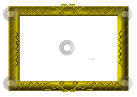Golden picture frame swirls stock vector clipart, Golden wooden picture frame with carved details and blank hole by Michael Travers