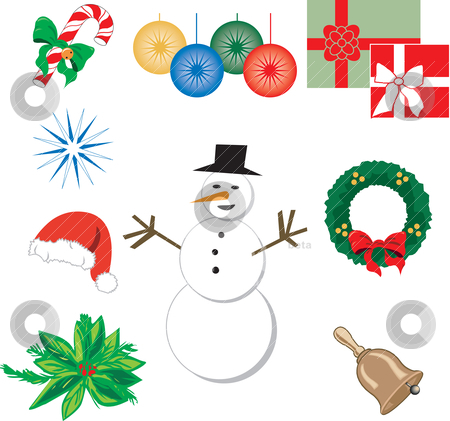 Nine Christmas Icons 1 stock vector clipart, Set of nine Christmas or Holiday Icons. Vector Illustration. by Basheera Hassanali