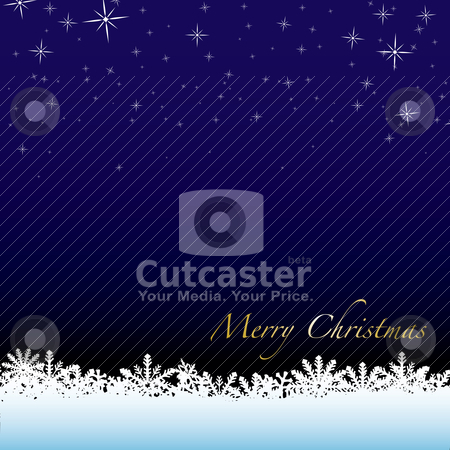 Christmas scene stock vector clipart, Christmas winter scene with snow drift and starry night sky by Michael Travers