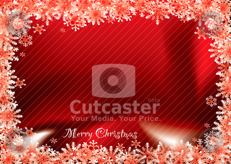 Christmas red flake stock vector clipart, Bright red christmas background with snow flake and copy space by Michael Travers
