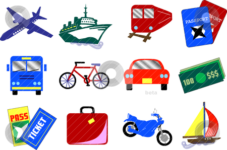 12 Travel Icons stock vector clipart, Twelve vector travel icons, also available as buttons. by Basheera Hassanali