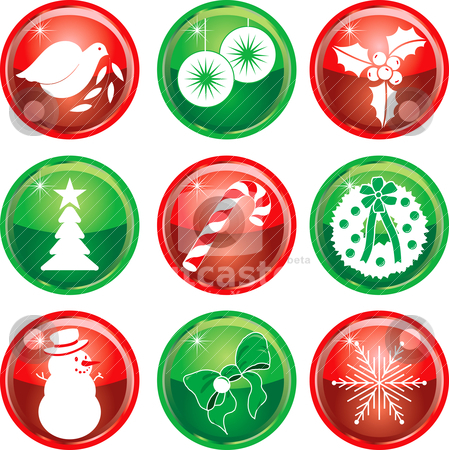 Nine Christmas Icons Buttons 1 stock vector clipart, Set of nine Christmas or Holiday Icon Buttons. Vector Illustration. by Basheera Hassanali