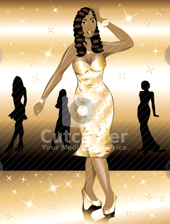 Formal Golden Gown Woman stock vector clipart, Formal Golden Gown Woman, can be used for Holidays, prom or anything. by Basheera Hassanali