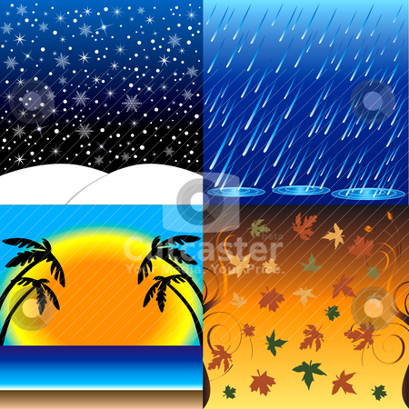 Four Seasons stock vector clipart, Vedcctor Ilustration of the four seasons, Winter, Spring, Summer and Fall. by Basheera Hassanali