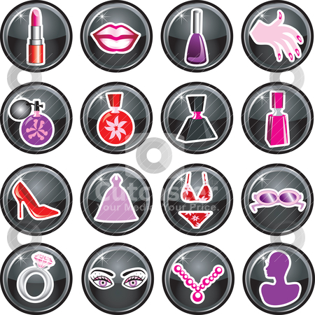 Beauty Icon Buttons stock vector clipart, 16 Vector Icon Buttons for Beauty or Fashion. Also available as buttons and in black. by Basheera Hassanali
