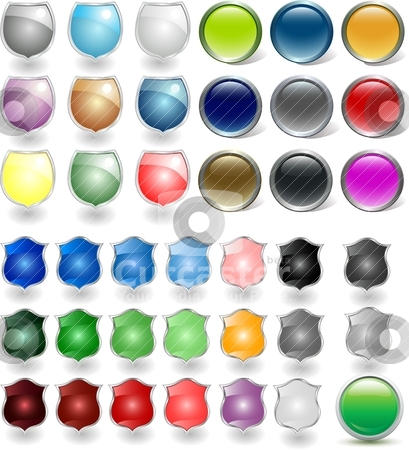 Vector glossy buttons. stock vector clipart, Vector glossy buttons. by Ivanka Savova